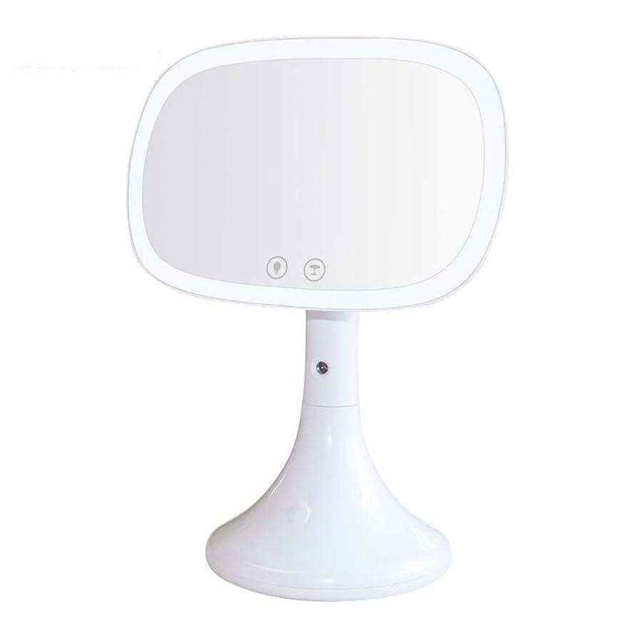 しわチョークハーネス流行の USBデスクトップ化粧鏡LED美容保湿化粧鏡水スプレーホワイトピンク (色 : White)