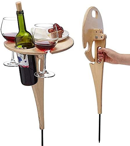 Mesa de vino plegable romántica al aire libre, estante multifuncional de madera para picnic portátil para copas de vino, mini mesa plegable para exteriores, bandeja para aperitivos en la playa