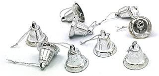 Yalulu 1.6cm Gold/Silver Celebration Bells Craft (100 Pack) for Christmas Festival Decoration DIY Craft (Silver)