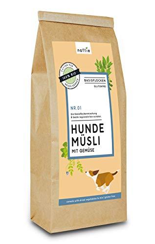 naftie Bio Hundeflocken Hundemüsli No. 01 mit Gemüse | Flocken-Mix für Hunde mit Hirseflocken, Kokosflocken & Gemüse | glutenfrei | vegan | Barf-Zusatz | 1kg