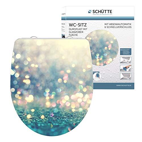 SCHÜTTE MAGIC LIGHT WC-Sitz Duroplast HG, Hochglänzender Toilettensitz mit Absenkautomatik, Schnellverschluss für die einfache Reinigung, max. Belastung der Klobrille 150 kg, Motiv 82587
