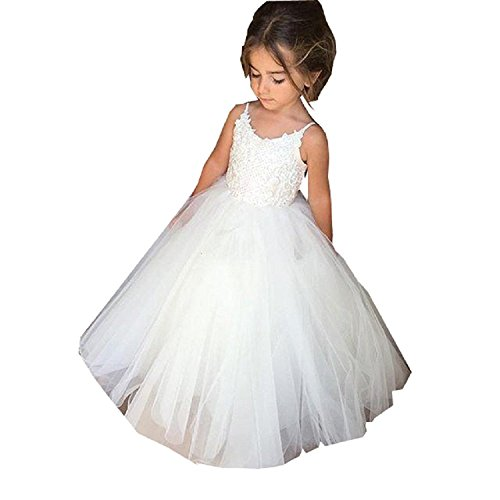 PLwedding Flower Girls Lace Tulle Ball Gowns First Communion Dresses Size 4 White