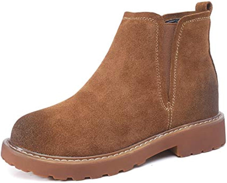 Top ShishangLeder-Frauen-Stiefel-Herbst-einzelne Aufladungen elastische Martin-Aufladungen britische Wind-Flache Stiefelies-Weinlese-Scrub, braun, 37