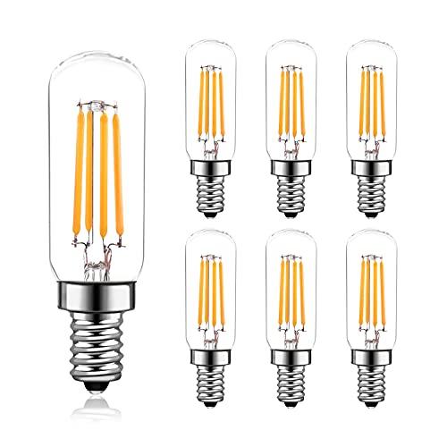 6 Stück E14 LED 4W Dimmbar Filament Glühbirne für Kronleuchter, E14 Glühfaden Retrofit Classic, 400 Lumen 4 Watts ersetzt 40 Watt Glühlampe Lampe, 2700K Warmweiß, Fadenlampe, Glas