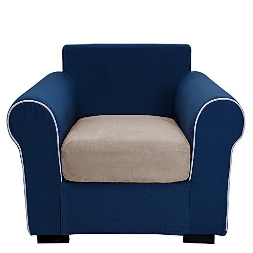 THJ Funda de cojín antideslizante de terciopelo elástico para sofá, fundas de asiento de sofá extraíbles con parte inferior elástica, lavable, protector (marrón)
