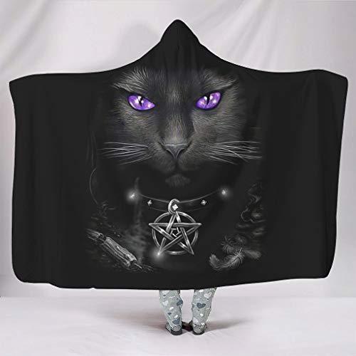 O5KFD & 8 originele hooded blanket Wicca cat purple cat eyes design print zwarte deken dragen draagbare deken plafonds – voor tieners.