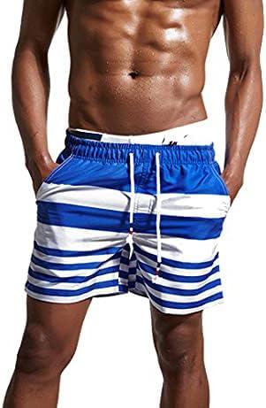 DFLYHLH Men's Swim Shorts Quick-Drying Swimsuit Beach Shorts with mesh Lining Drawstring Pocket Shorts