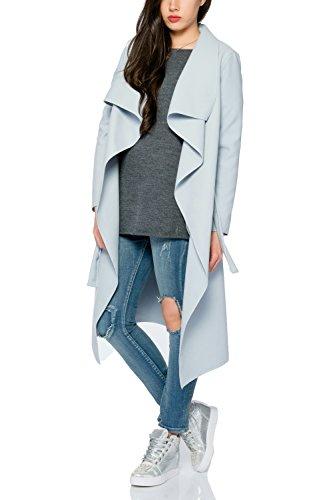 Kendindza Damen Mantel Trenchcoat mit Gürtel OneSize Lang und Kurz (Einheitsgröße, Hellblau Lang)