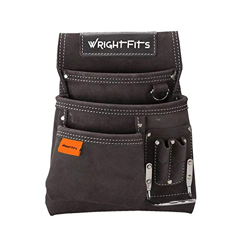 WrightFits Leather Nail and Hammer Multi Pockets Tool Work Pouches | Tool Holder Work Organiser for Builders, Carpenters, Gardeners, Electricians- Dark Brown - WW180114