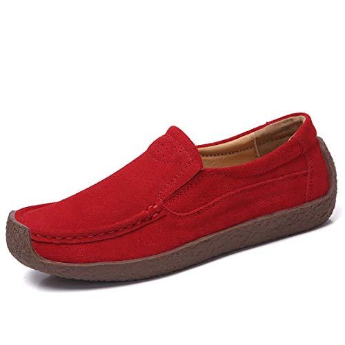 Z.SUO Mujer Mocasines de Cuero Gamuza Moda Loafers Casual Zapatos de Conducción Zapatillas(38 EU,Rojo)