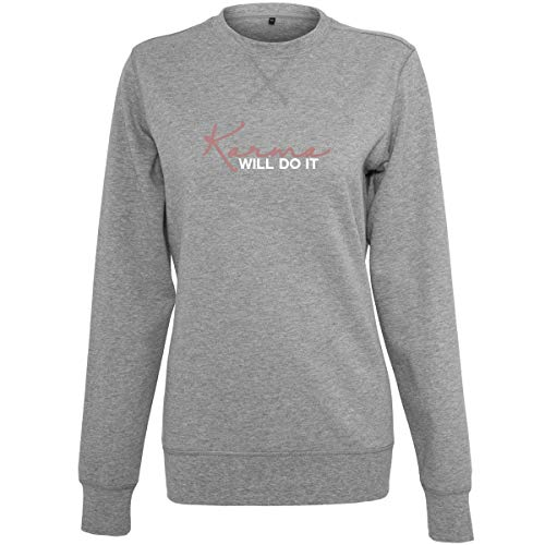 Shirtfun24 Damen Statement Karma Will do it Rosegold Print Sweater Sweatshirt, Graumeliert, XS