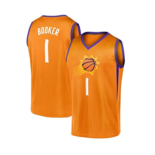 Devin Booker # 1, Phoenix Suns, Anfernee Hardaway, NBA Swingman, Basketball-Trikots, T-Shirt aus T-Shirt Fan Edition Jersey Westen Tops (Color : Orange, Size : L)