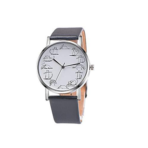SYWY Moda Linda Gato Relojes Mujeres Relojes Casuales Banda de Cuero Reloj de Pulsera de Cuarzo Damas Reloj Mujerder (Color : Black)