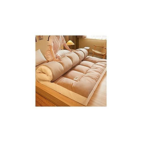 AZD Materasso futon Pieghevole Giapponese, Materasso per Pavimenti addensanti da 10 cm Twin Full Queen King Tatami Tatami Tatame Portamone Piant da Letto Materasso Materasso Materasso,Cachi,Full