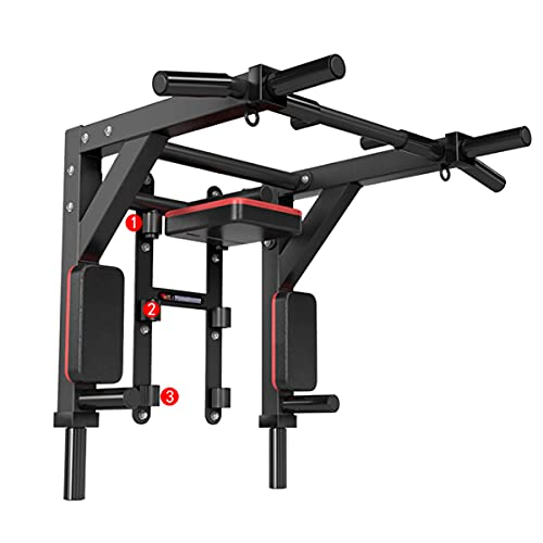 Multifuncional Montado En La Pared Pull Up Bar Home Gym Fitness Chinning Hierro Soporte para El Hogar Gimnasio Fitness Formal Entrenamiento MAX 440 Lbs(Color:Negro)
