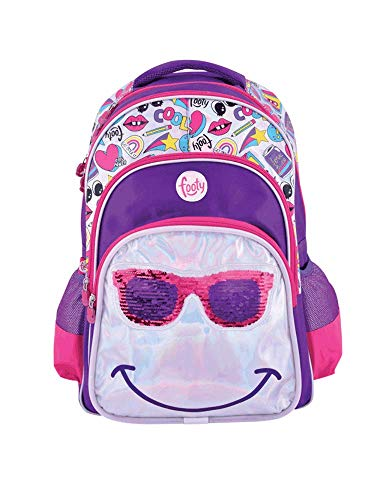 FOOTY   Mochilas para Niñas para Preescolares y Colegio De Primaria - Estilo Smile Juveniles con Lentejuelas y de Tela - Ve a la Moda - Tendencia 2020