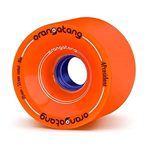 Orangatang 4 President 70 mm 80a Cruising Longboard Skateboard Wheels (Orange, Set of 4)