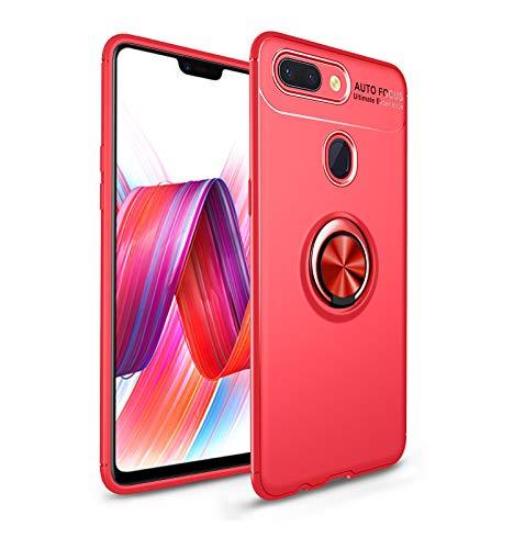 Funda Huawei Honor 9 Lite Funda Ultra Anillo Soporte 360 Grados Giratorio Ring Grip con Kickstand Gel TPU de Silicona Bumper para Huawei Honor 9 Lite (Rojo)