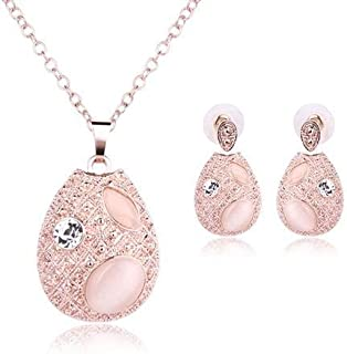 2 Pcs Crystal Jewelry Set Rose Gold Opals Chain fashion sparkling elegant Necklace Earrings Set Wedding Jewellery for Wome...