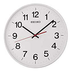Seiko Quiet Sweep Second Hand Wall Clock, White, 31.8 x 6 x 31.4 cm