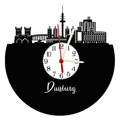 Wanduhr Duisburg Skyline mit Ziffernblatt, hochwertige Acrylglas Uhr mit lautlosem Quarzwerk, 3mm Stärke