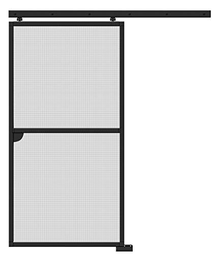 Schellenberg 70071 Insektenschutz-Schiebetür Premium Fliegengitter-Tür zum Schieben, barrierefrei, Alu-Profile und Fiberglas Gewebe kürzbar, 120 x 240 cm