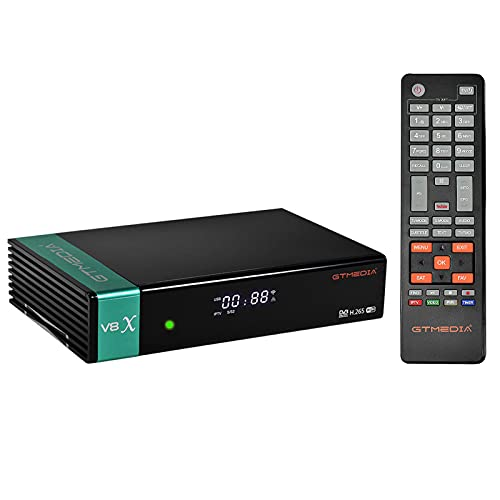 GTMEDIA V8X Decodificador Satélite,DVB-S S2 S2X FTA Receptor Satélite Digital Full HD con Wi-Fi Incorporado/Ethernet/SCART,Soporte CCCAM, Youtube, IPTV,Ranura para Tarjeta CA,PowerVu,Biss Key