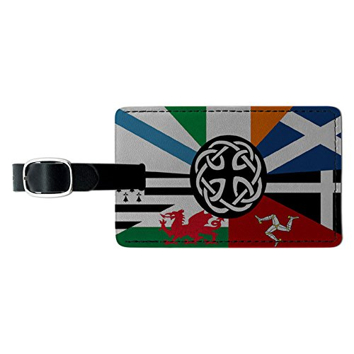 Graphics & More Celt Irish Ireland Pan-Celtic Nation Flags Leather Luggage Id Tag Suitcase, Black