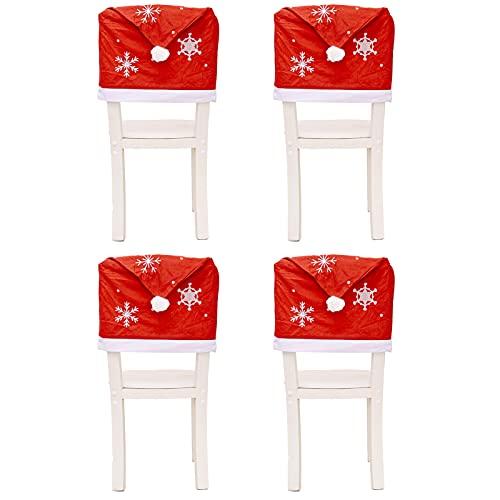 UELEGANS Fundas para Sillas Navideñas, 4 Piezas Silla con Gorro De Papá Noel con Respaldo Funda para Silla De Comedor Red Hat Fundas para Decoración Festiva De Fiesta Navideña