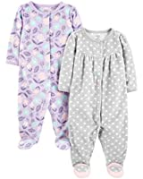 Simple Joys by Carter's Girls' 2-Pack Fleece Footed Sleep and Play, Purple/Flowers/Gray Dot, 0-3 Months