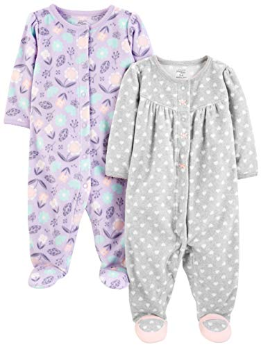 Simple Joys by Carter's Baby Girls paquete de 2 calcetines de forro polar para dormir y jugar ,Purple/Flowers/Gray Dot ,US NB (EU 56-62)