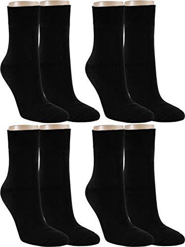 RS. Harmony Thermo Baumwoll Strümpfe mit Softrand ohne Gummidruck Extra warm für Damen in Schwarz, 4 Paar, 39-42