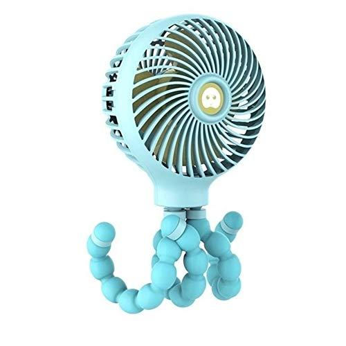 Mini ventilador de escritorio portátil ventilador Mini ventilador de mano, ventilador portátil USB o ventilador de escritorio a batería, cochecito de viaje ajustable de 3 velocidades ( Color : Blue )