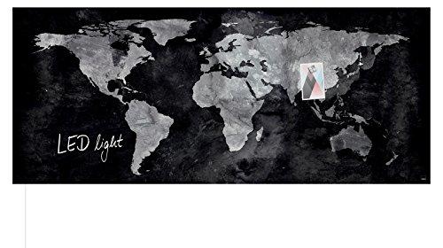 SIGEL GL410 Glas-Magnetboard 130 x 55 cm mit LED-Beleuchtung, World-Map / Magnettafel Artverum