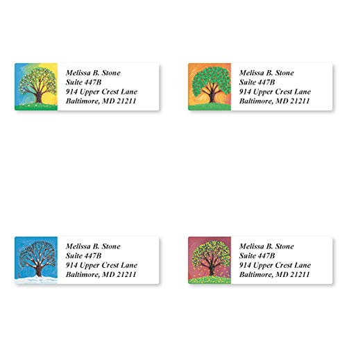 Amazon Com Tree In Four Seasons Assorted Set Of 215 Personalized Sheeted Return Address Labels Office Products