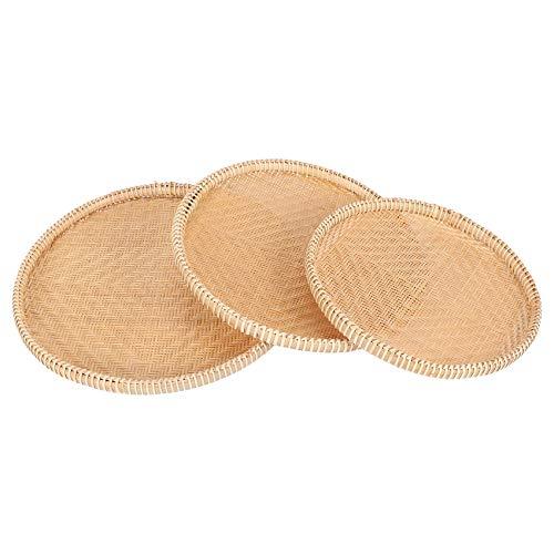 Huante Cesta de almacenamiento hecha a mano de bambú de mimbre de estilo chino para alimentos, cesta de mimbre organizador de cocina, 3 piezas