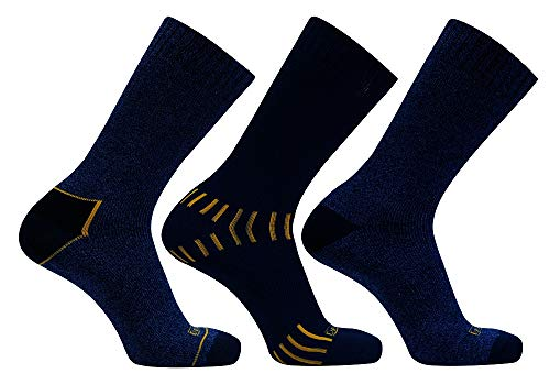 DEWALT DXSC150 Mens Everyday Cotton Blend Size#10-13 Work Crew Sock - Blue (3-Pack)