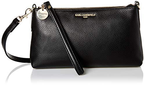 Karl Lagerfeld Paris Damen Heather Pebble Crossbody Umhängetasche, schwarz/Gold, Einheitsgröße