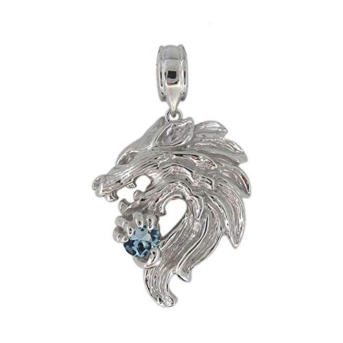 [プレジュール]ホワイトゴールド 18金 メンズ オオカミ ペンダントトップ 狼 ウルフ 天然石 アクアマリンサンタマリア