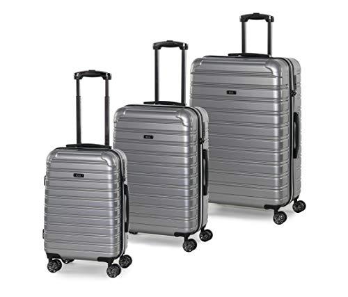 Rock Chicago 3 Piece Set Hardshell Lightweight Suitcase Luggage Set Silver