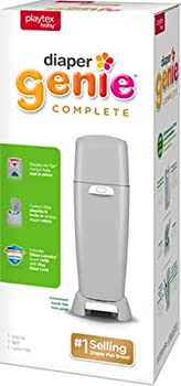 Playtex Diaper Genie Complete Pail with Built-In Odor Controlling Antimicrobial Includes Pail and 1 Clean Laundry Scent Refill Gray Pail