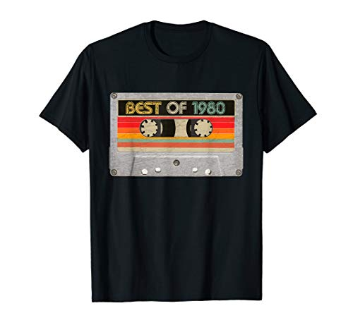 Best Of 1980 40th Birthday Gifts Cassette Tape Vintage T-Shirt