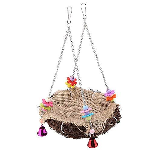 CJFael Juguete para masticar loros de pájaros, mascotas y pájaros, loro de malla, cesta de campana, jaula para colgar nido, cama oscilante, hamaca de juguete de color aleatorio de 12 cm