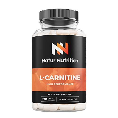 L-Carnitina, suplemento deportivo quemagrasas, ayuda perdida de peso, aumento de resistencia, rendimiento deportivo y reducción de fatiga muscular. 120 cápsulas vegetales, sin gluten. Fabricado en UE.