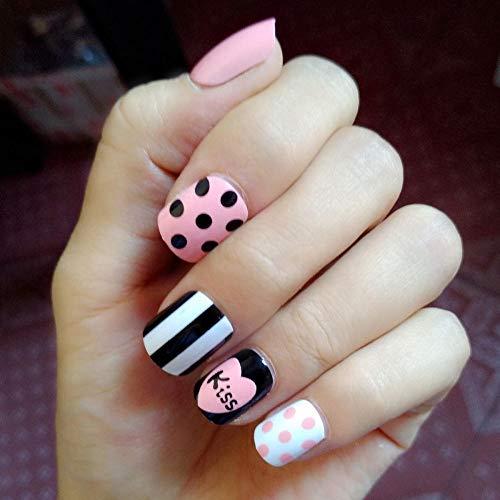TJJF 24Pcs Claro Pre Design Nail Tips Short Kids Pink False Nails Heat Black White Stripe Kiss Fake Nails Pegamento Pegatina