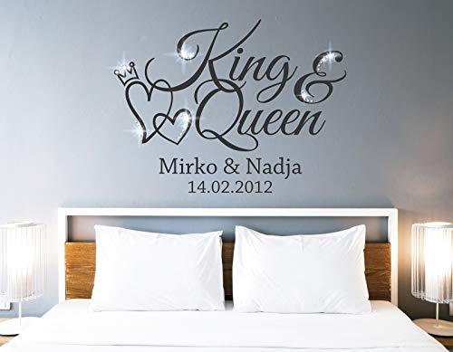 tjapalo® pkm462 Wandtattoo King Queen Wandtattoo Schlafzimmer Liebe Wandsticker Schlafzimmer romantisch Wandtattoo paare Namen und Datum, Farbe: Schwarz, Größe: B100xH58cm
