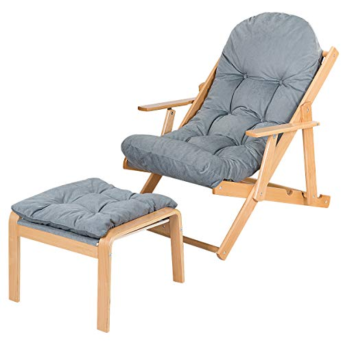 COSTWAY Foldable Wooden Recliner Chair Matching Footstool, 3-Position Adjustable Reclining Lounger, Home Office Yard Deck Chair Furniture