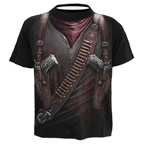 PPangUDing Hommes Cowboy Occidental 3D Pattern imprimé T-Shirts Chemise à Manches Courtes T-Shirts Blouse Tops Tees Grande Taille M-4XL (3XL, Noir)