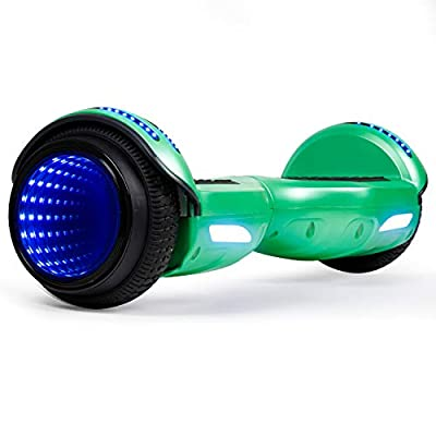 CBD Flash Hoverboard, Two-Wheel 6.5 inch Self Balancing Scooter with Bluetooth Speaker and LED Mirror Wheel for Kids Adults, Green