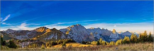 Poster 180 x 60 cm: Alpenpanorama - Sonnenaufgang im Allgäuer Ammergebirge von Michael Helmer - hochwertiger Kunstdruck, neues Kunstposter